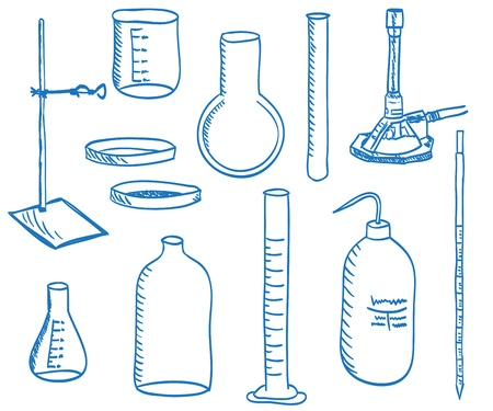 Illustration of a chemistry laboratory equipment - vector Vector