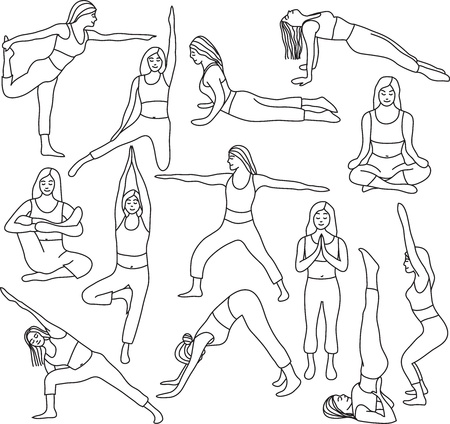 Yoga poses collection and meditation poses - vector illustration