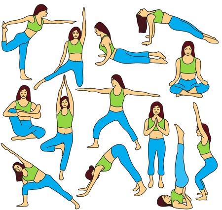 hand position: Las posturas de yoga plantea la recogida y la meditaci�n - ilustraci�n vectorial de color