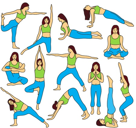 Yoga poses collection and meditation poses - colored vector illustration