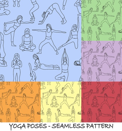 Yoga poses collection and meditation poses - background seamless pattern Vector