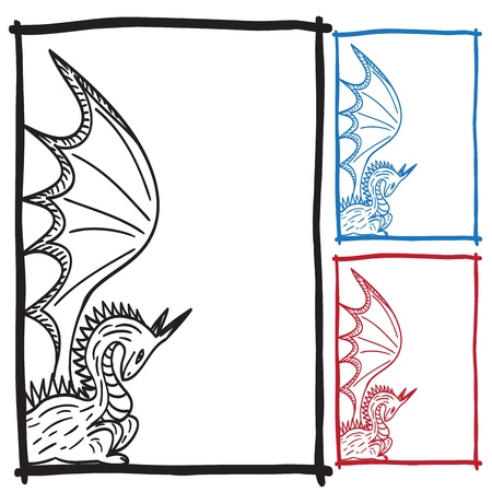 Frame with dragon sketch - place your text here Vector