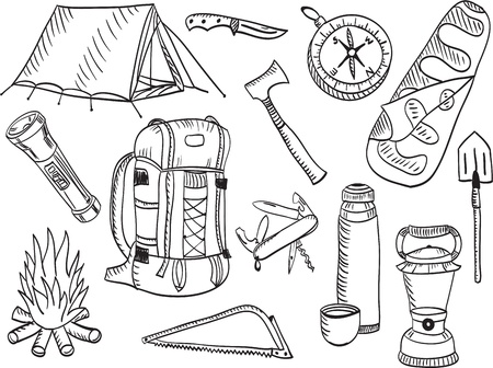Set of camping and outdoor equimpment - sketch style Vector