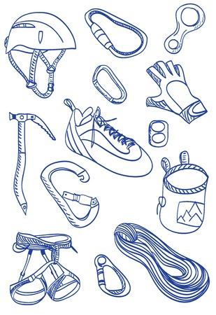 rivet: Иллюстрация альпинизма оборудования и аксессуаров.