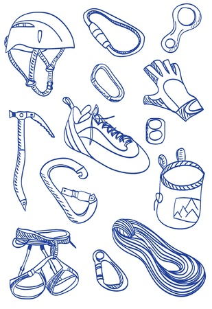 ice climbing: Illustration of a mountain climbing accessories and equipment.