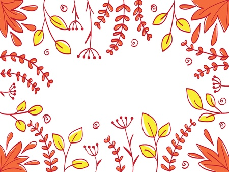Floral abstract frame background - colored vector illustration Vector