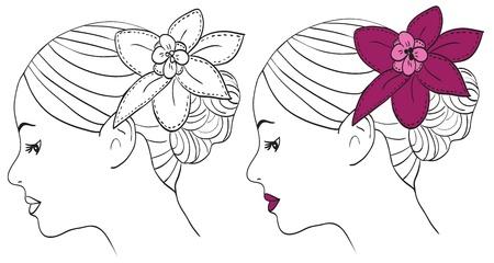 Las mujeres con flores de color rosa en el pelo - ilustración vectorial