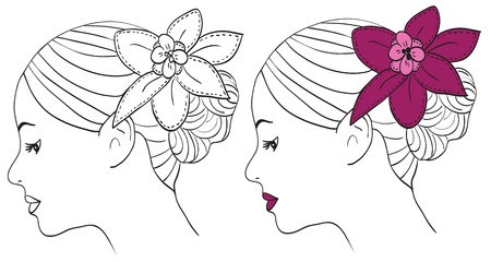 Women with pink flower in hair - vector illustration Vector