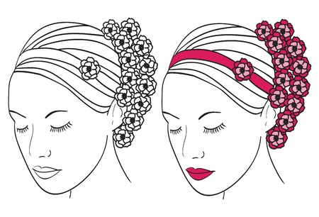 Woman with flowers in hair - vector illustration Vector