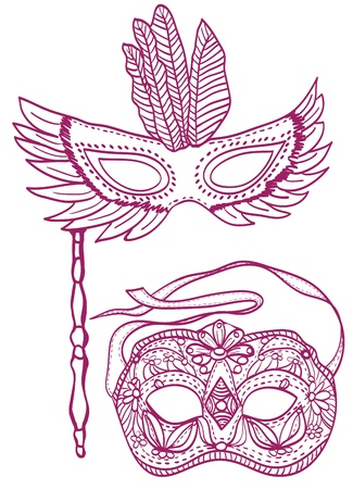 carnevale: Illustration of carnival masks