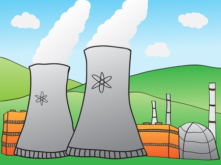 nuclear reactor: Hand-drawn Illustration of Nuclear Power Plant