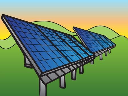 solar collector: Solar Panels at Sunset Sky Illustration