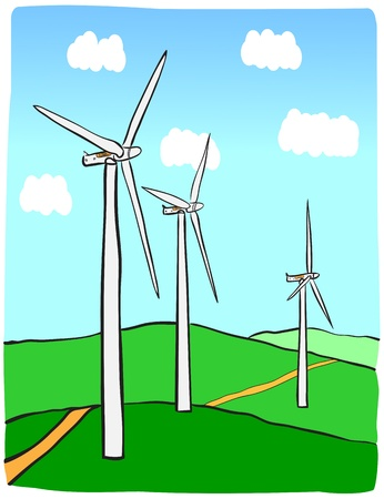 windpower: Hand-drawn illustration of windmill  Illustration