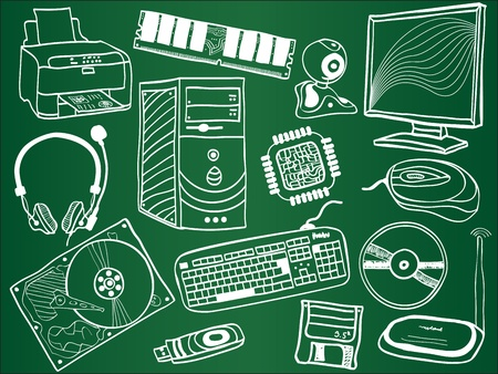 Pc components and peripheral devices sketches on school board   Stock Vector - 12940873