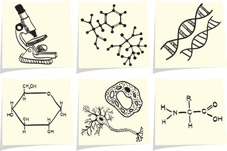 gene: Biologie en chemie iconen op gele memo stokken Stock Illustratie
