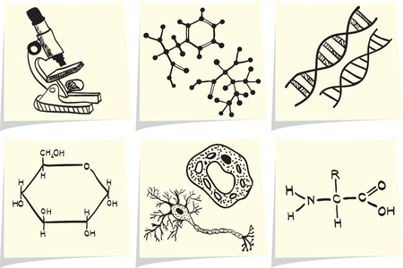 gene: Biology and chemistry icons on yellow memo sticks