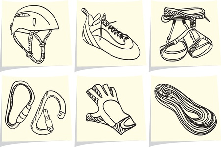 Mountain climbing accessories and equipment on yellow memo sticks  Vector