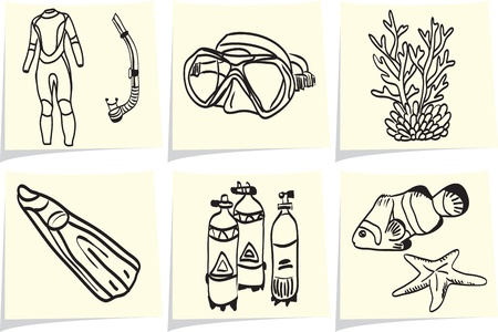 Diving equipment and sea life on yellow memo sticks    Vector