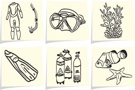 Matériel de plongée et de la vie marine sur les bâtonnets de notes jaunes Vecteurs