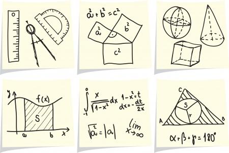 simbolos matematicos: Las matemáticas y la geometría de los iconos y las fórmulas de palos de notas amarillas