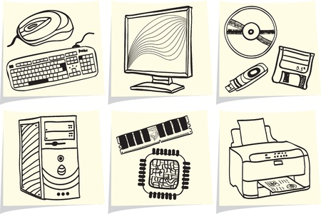Pc components and peripheral devices sketches on yellow memo sticks   Vector