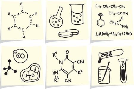 chemistry formula: Chemistry and biology icons and formulas on yellow memo sticks