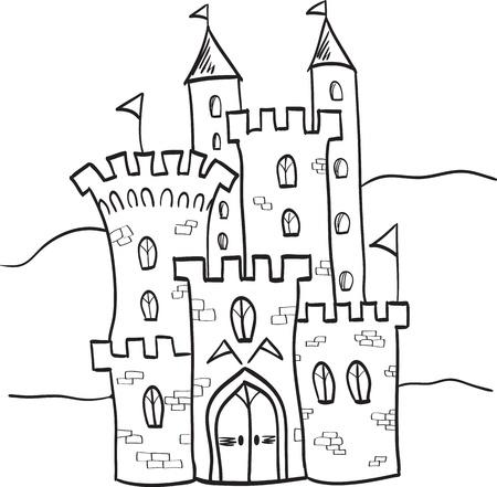 castello fiabesco: Illustrazione di cartone animato fiabesco castello in stile regno Vettoriali