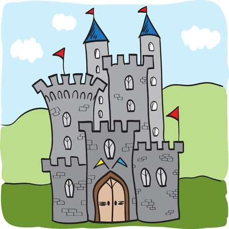 Illustration of fairytale castle kingdom cartoon style Vector