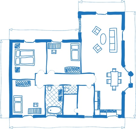 office plan: Illustration of floor plan of house, doodle style Illustration