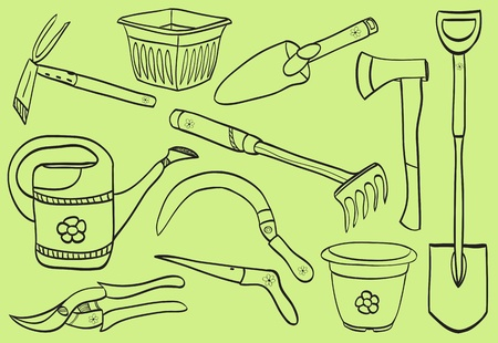 Illustration of gardening tools - doodle style - pot, watering can, dig, rake, scissor, shovel Vector