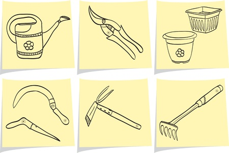 agricultural tools: Illustration of gardening tools - doodle style - pot, watering can, dig, rake, scissor, shovel Illustration