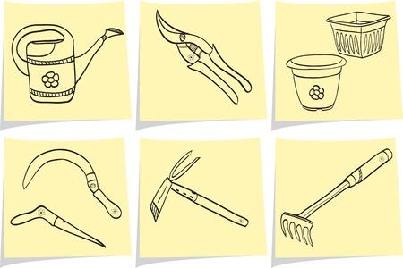 Ilustración de las herramientas de jardinería - estilo de dibujo - olla, regadera, excavación, rastrillo, tijeras, pala