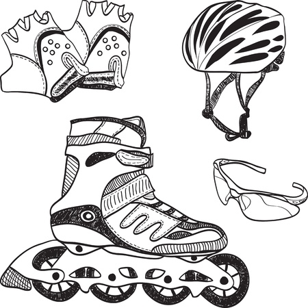 roller blade: Illustration of roller skating equipment - roller skates, gloves, helmet, glasses Illustration