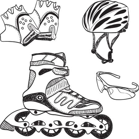 patines: Ilustraci�n de rodillo de equipos de patinaje - patines, guantes, casco, gafas