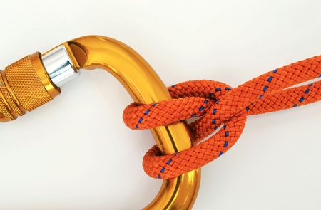 Climbing equipment - detail carabine and knot Stock Photo - 13156283
