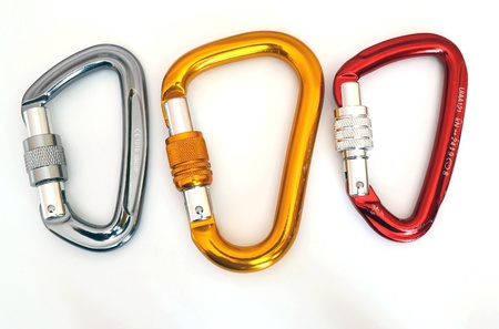 Climbing equipment - three multicolor carabiners with a few scratches  photo
