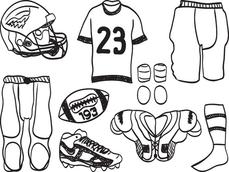 american football helmet set: American Football Equipment - hand-drawn illustration of sport accessories