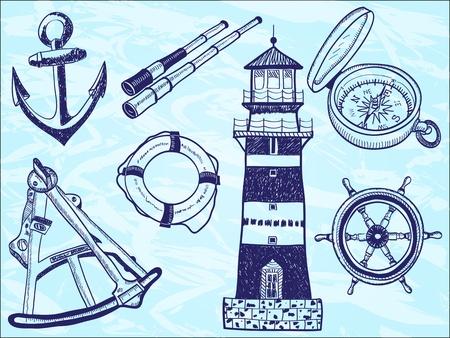 roer: Nautische collectie - met de hand getekende illustratie van vuurtoren, reddingsboei, telescoop, sextant, anker, roer, kompas