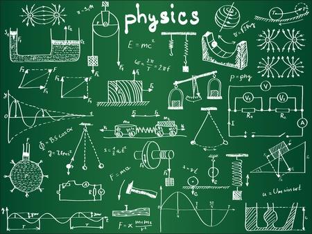 educacion fisica: F�rmulas f�sicas y fen�menos de la junta escolar - dibujado a mano ilustraci�n Vectores