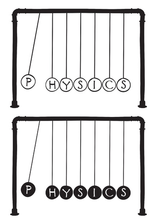 Physics - Newtons cradle illustration, balls with letters Stock Vector - 13312686