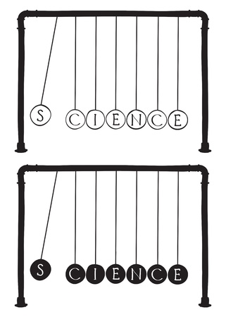 Science - Newtons cradle illustration, balls with letters Stock Vector - 13312690