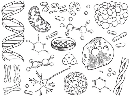 biochemistry: Biology and chemistry icons isolated, hand-drawn illustration