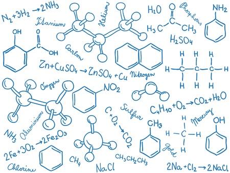 Chemie achtergrond - molecuul modellen en formules, met de hand getekende illustratie