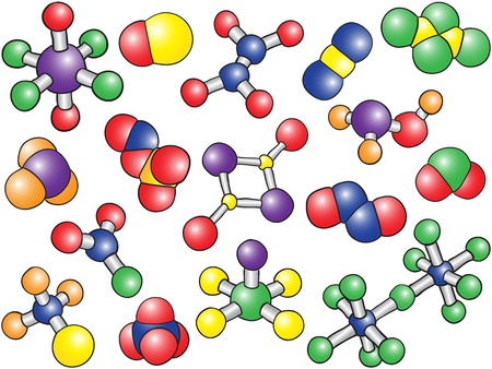 Chemistry background - colored molecule models, hand-drawn illustration Vector