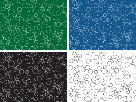 Chemistry background - seamless pattern molecule models, hand-drawn illustration Vector