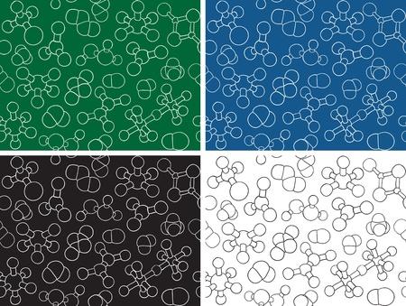 Chemistry background - seamless pattern molecule models, hand-drawn illustration Stock Vector - 13454046
