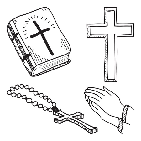 Christian hand-drawn symbols illustration - cross, bible, hands, rosary