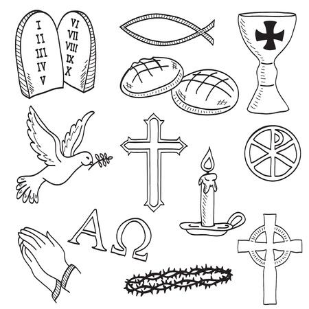 christian fish: Dibujado a mano ilustraci�n de los s�mbolos cristianos - la cruz, las manos, el pescado, el c�liz, el pan, la paloma, vela, corona de espinas