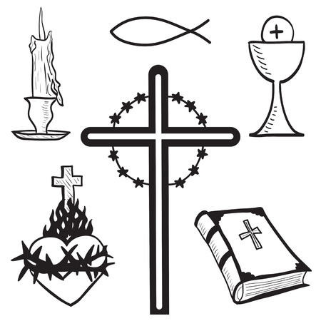 christian fish: Christian dibujado a mano ilustraci�n de los s�mbolos - vela, cruz, biblia, el pescado, el coraz�n, vaso