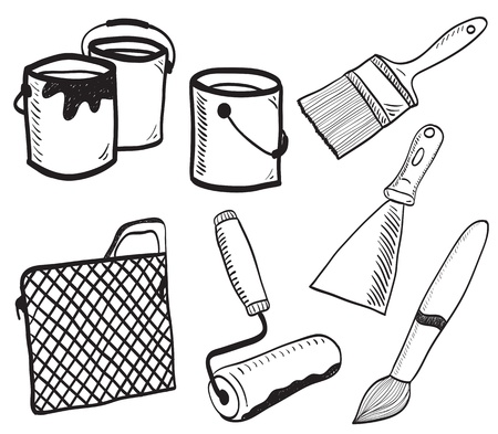 construction tools: Painting accessories hand-drawn illustration - colors, brushes, bucket, roller